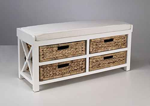 Small white cabinet with four drawers in water hyacinth, sale by agent export in indonesia, sourcing in Bali.