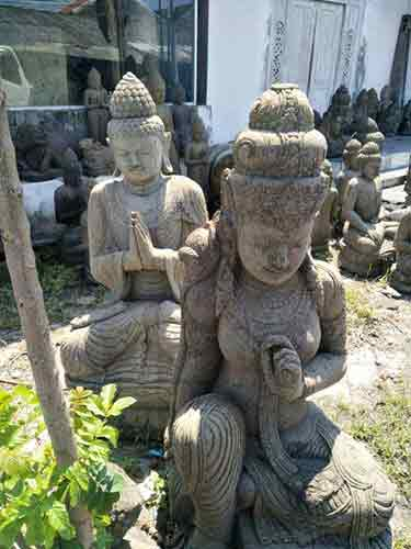 Various stone statues, monks, Buddha, sculpted goddesses for sale by buying agent in indonesia in Bali sourcing and export.