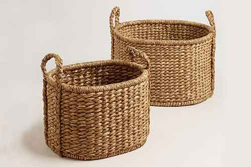 Two water hyacinth baskets by sourcing agent in Bali Indonesia.